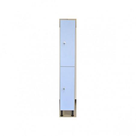 Taquilla vestuario melamina 2 puertas 90x30x50 cm con banco