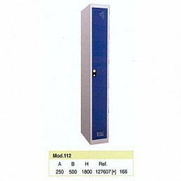 Taquilla metálica para vestuario 1 altura 1 hueco 25x50x180 cm