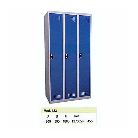Taquilla metálica para vestuario 1 altura 3 huecos 30x50x180 cm