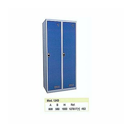 Taquilla metálica para vestuario doble 1 altura 2 huecos 40x50x180cm100