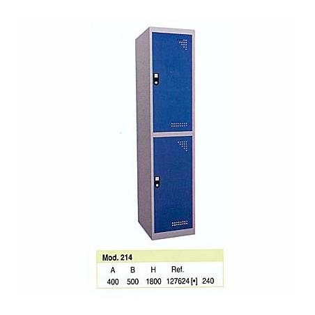 Taquilla metálica para vestuario 2 alturas 2 huecos 40x50x90 cm