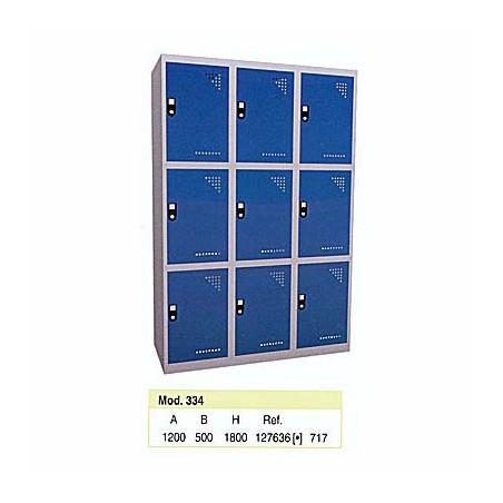 Taquilla metálica para vestuario 3 alturas 9 huecos 40x50x60 cm