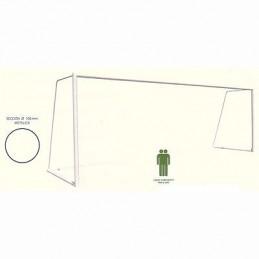 Juego porterías fútbol 5 móviles hierro postes redondos 80 mm