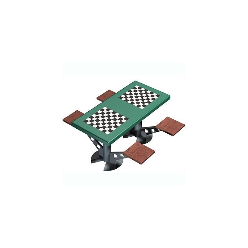 Mesa de ajedrez antivandálica para exterior 4 jugadores