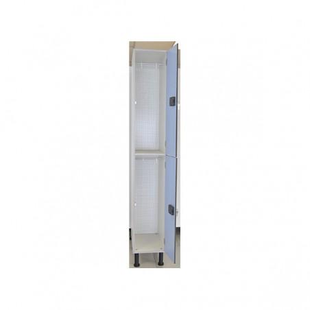 Taquilla vestuario melamina 2 puertas fenólicas 90x30x50cm con banco