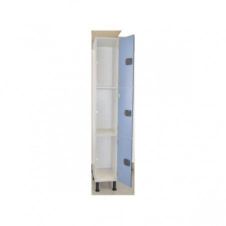 Taquilla vestuario fenólica perfil aluminio 2 puertas 90x30x50cm interior armario 3 puerta