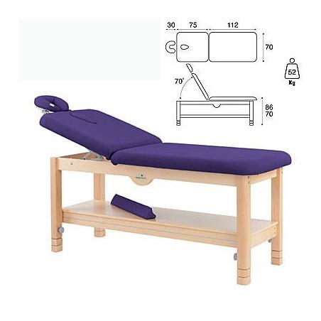 Camilla fija madera 2 cuerpos altura regulable y bandeja C3260