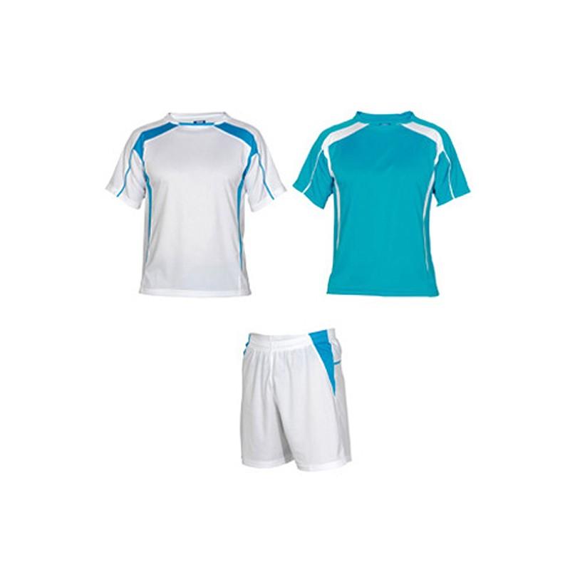Conjunto 2 camisetas, pantalón deporte infantil Salas azul turquesa y blanco