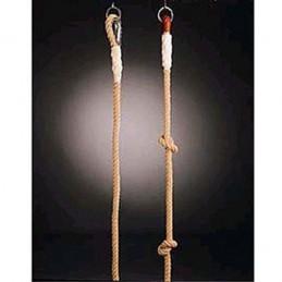 Cuerda trepa de cáñamo con nudos 7 m de largo con sujeciones metálicas