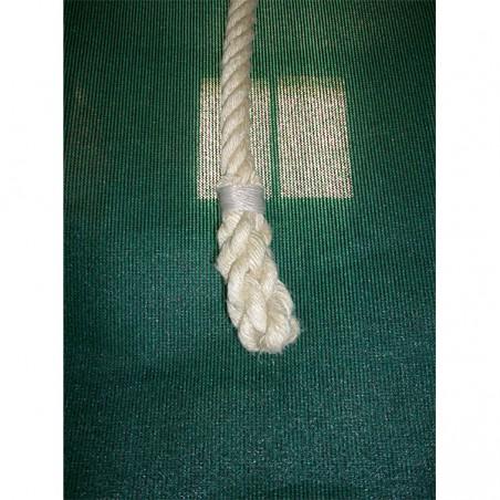 Cuerda trepa de cáñamo con nudos 8 m de largo con sujeciones metálicas