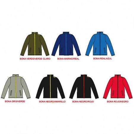Colores del forro polar deportivo con cremallera larga y bolsillos laterales Bona para adultos
