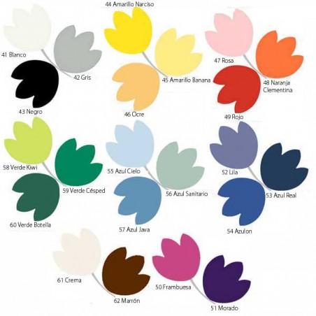 Gama de colores para el tapizado de Cabezal articulado para camillas plegables con tensores