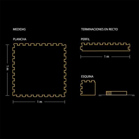 Plano del pavimento suelo técnico de gimnasio para pilates, yoga o estiramientos 100x100x2 cm