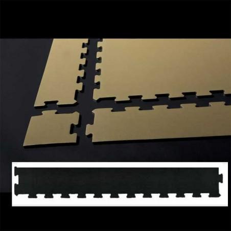 Perfil de remate para pavimento suelo técnico de gimnasio para pilates, yoga o estiramientos  12x100x2 cm Negro