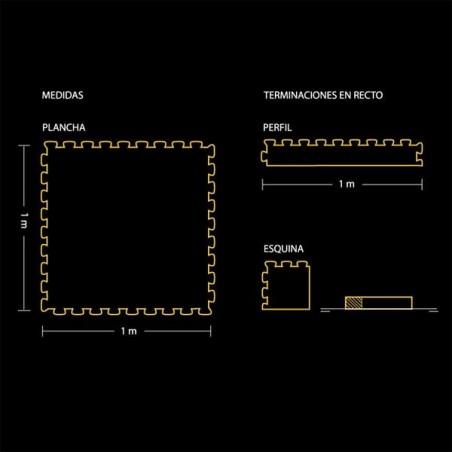 PLano del perfil de acabado para pavimento suelo o tatami para artes marciales 12x100x2 ó 3 cm