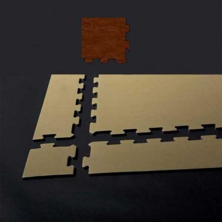 Esquina en forma de cuña, para remate de pavimento o suelo gimnasio aerobic piezas de  15X15X1 cm Castaño