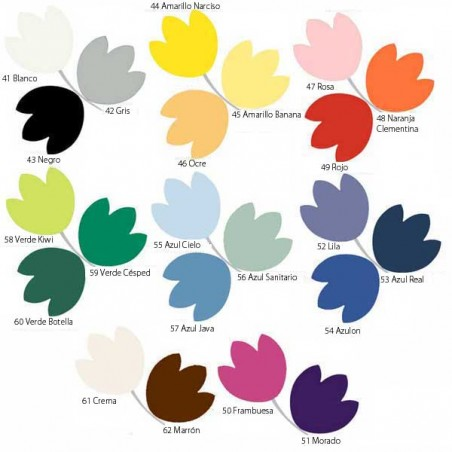 Gama de colores para el tapizado de la Camilla eléctrica 2 cuerpos ECOPOSTURAL C3545