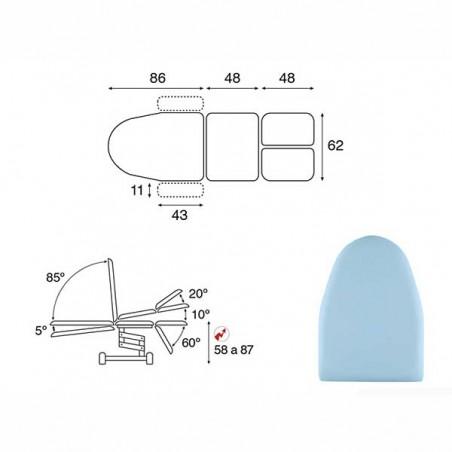 Esquema y movimientos del sillón eléctrico podología 3 cuerpos y brazos C3567T19 convertible en camilla