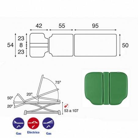 Esquema y movimientos de la camilla eléctrica 3 cuerpos y estructura tijera Ecopostural C7991T05 para osteopatía y tratamientos