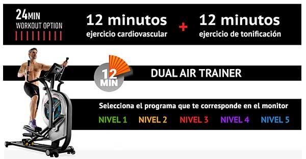 Bicicleta elíptica para un nuevo concepto de entrenamiento el HIIT (High Intensity Interval Training - Entrenamiento de intervalos de alta intensidad) en 24 minutos