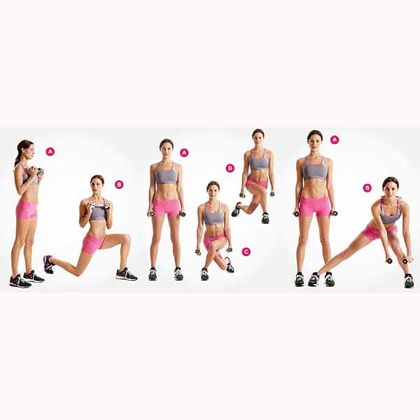 Muestra de unos cuantos ejercicios que se pueden realizar como estocadas con mancuernas