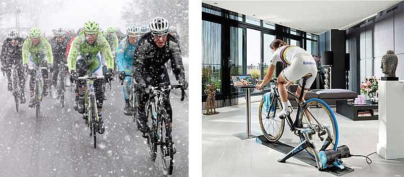 El frío y oscuro invierno hace difícil la práctica del ciclismo al aire libre, por esto queremos señalar los pros y contras de mantener la forma ciclista bien con bicicleta estática o con  rodillos de entrenamiento.