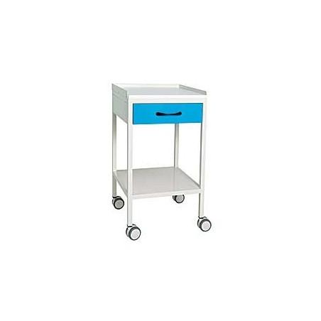 Mesa carrito pintada, balda superior, cajón y balda inferior