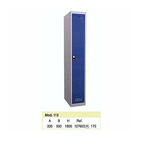 Taquilla metálica para vestuario 1 altura 1 hueco 30x50x180 cm