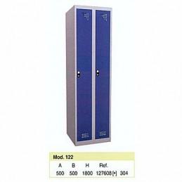 Taquilla metálica para vestuario 1 altura 2 huecos 25x50x180 cm