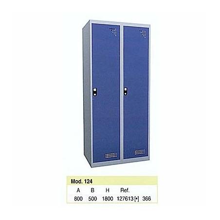 Taquilla metálica para vestuario 1 altura 2 huecos 40x50x180 cm