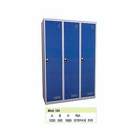 Taquilla metálica para vestuario 1 altura 3 huecos 40x50x180 cm