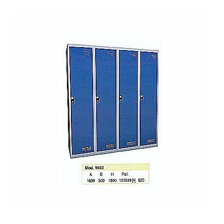 Taquilla metálica para vestuario doble 1 altura 4 huecos 40x50x180cm