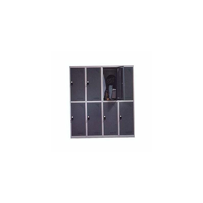 Taquilla metálica para vestuario 2 alturas 8 huecos 40x50x90 cm