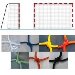 Juego de redes portería balonmano fútbol sala nylon 4 mm. Alto rendimiento