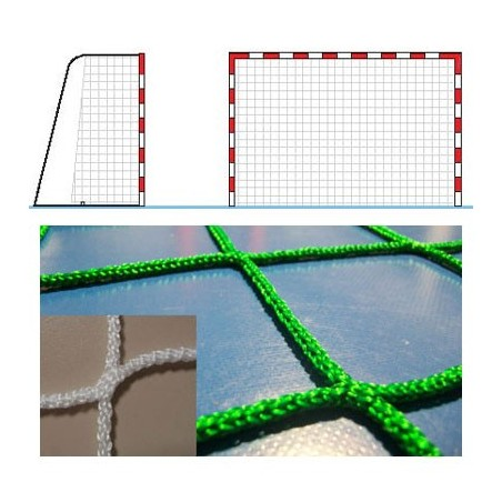Dos redes portería balonmano fútbol sala polipropileno trenzado sin nudos, hilo 3mm