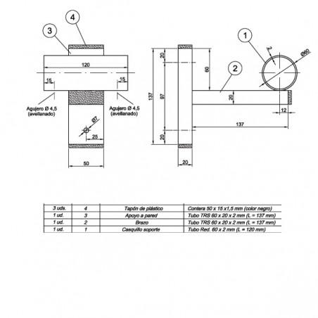 Plano de la sujeción de barra de ballet a la pared de 45 mm de diámetro