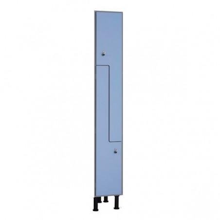 """Taquilla fenólica de 2 puertas de 90x30x50 cm en forma de """"L"""" con banco para vestuario"""