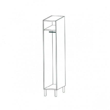 Taquilla vestuario fenólica perfil aluminio 1 puerta 180x30x50cm distribución interior 1 puerta