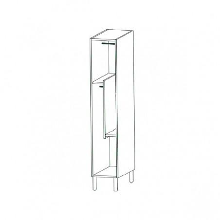 Taquilla vestuario fenólica perfil aluminio 2 puertas 90x30x50cm distribución interior