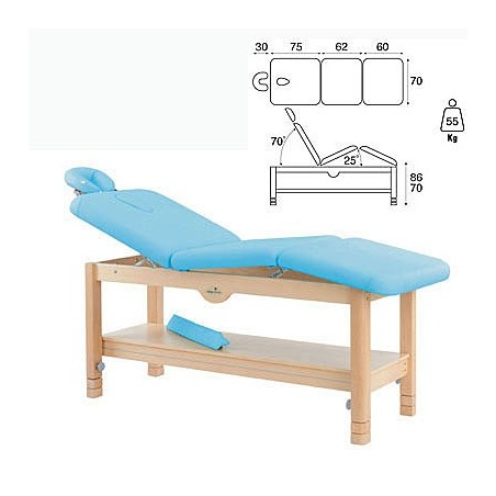 Camilla fija madera 3 cuerpos altura regulable cabezal bandeja C3269
