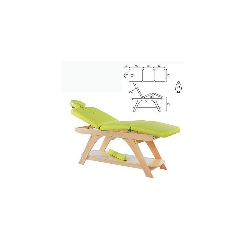 Camilla fija madera 3 cuerpos altura fija cabezal bandeja C3279