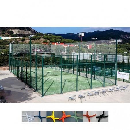 Redes de seguridad y protección pistas tenis, padel, frontenis nylon 2.4mm y malla 45x45mm
