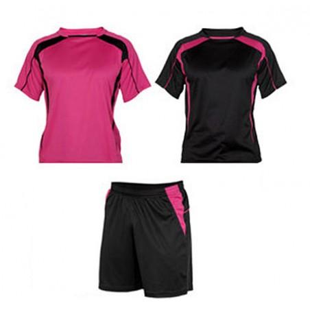 Conjunto 2 camisetas y pantalón deporte adulto Salas fucsia y negro