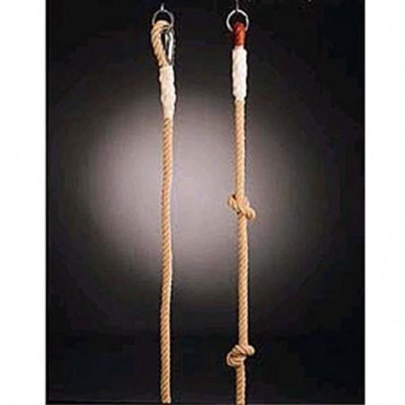 Cuerda trepa lisa de cáñamo 9 m de largo con sujeciones metálicas