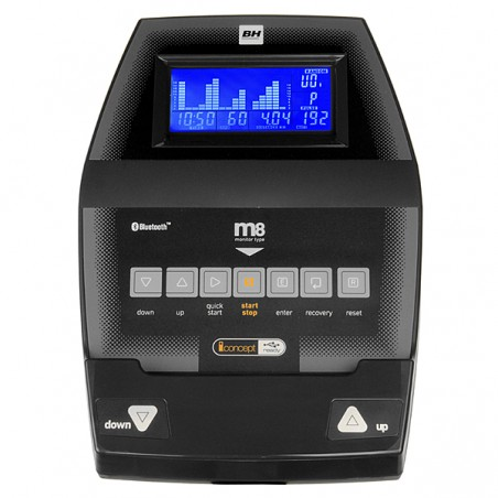 Detalle monitor de serie de la bicicleta elíptica semi profesional BH i.Concept FDR20 Dual con Dual Kit WG800