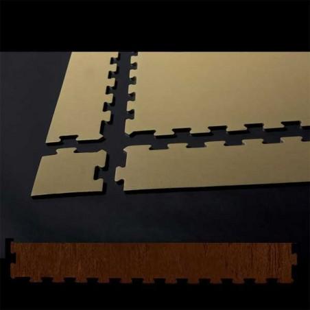Perfil remate suelo de gimnasio fitness, cardiovascular y musculación 10x75x0,7 cm color Wengué