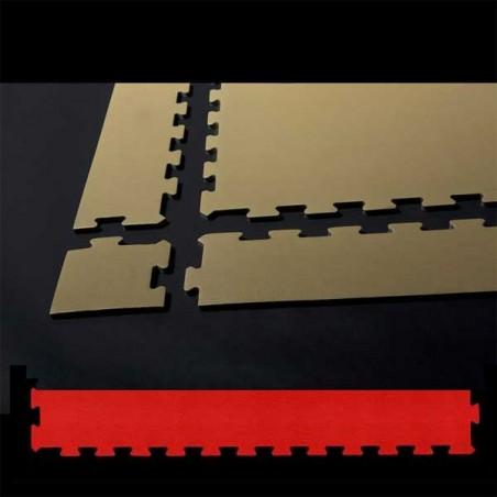 Perfil en forma de cuña remate o acabado para suelo de gimnasio fitness, cardiovascular y musculación 30x100x1,5 cm color Rojo