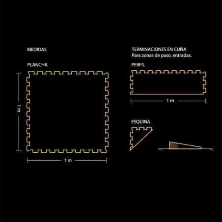 Plano del perfil de acabado en forma de cuña para pavimento suelo o tatami para artes marciales 30x100x2 ó 3 cm