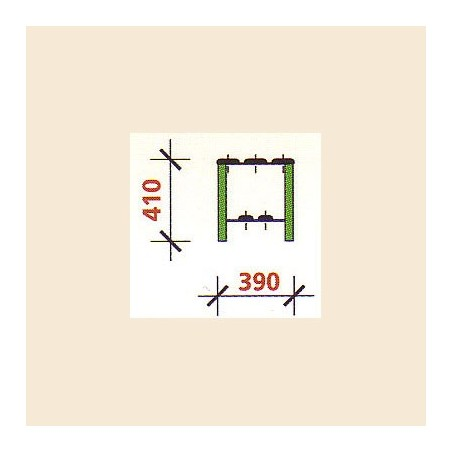 Banco vestuario simple zapatillero 2 listones 100 cm