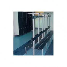Banco vestuario fenólico 2 percheros 2 baldas 2 respaldos Inox 0,9 m